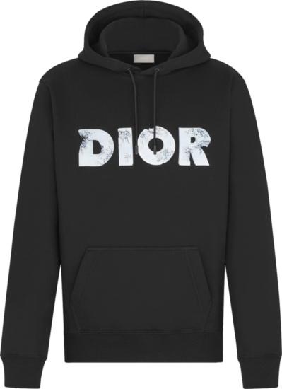 Dior Eroded Logo Print Black Hoodie