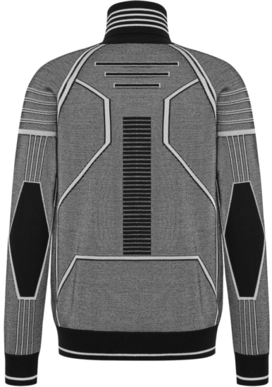 Dior Grey And Black Technical Wool Sweater