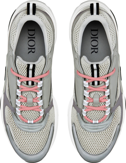 Dior Grey And Light Pink Lace B22 Sneakers