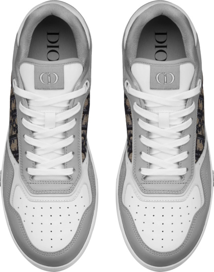 Dior Grey And White Oblique Low Top B27 Sneakers