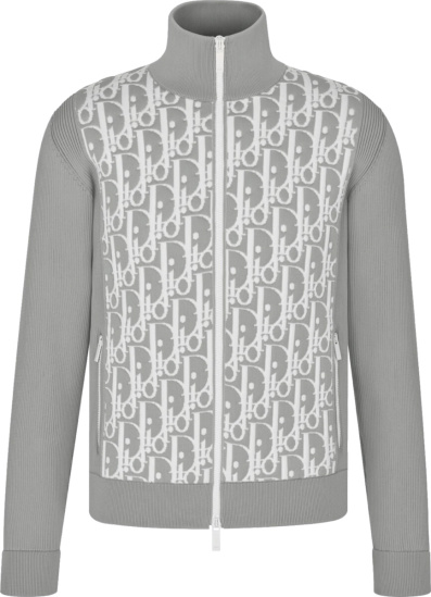 Dior Grey And White Oblique Ribbed Track Jacket