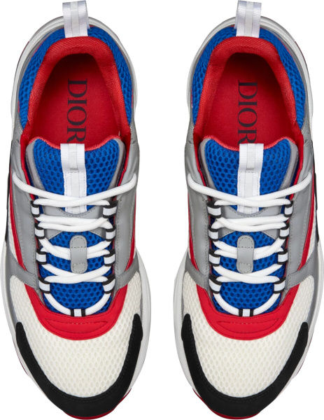 Dior Grey Blue And Red B22 Sneakers