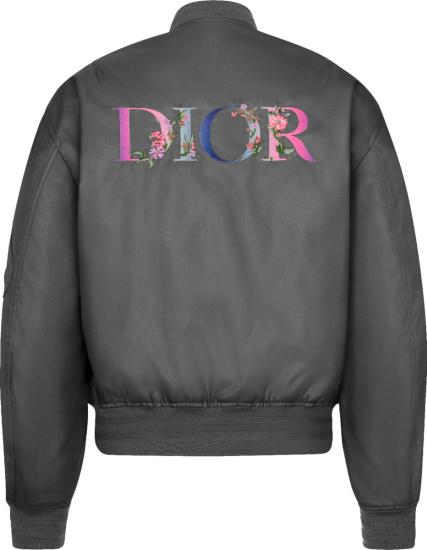 Dior Grey Flowers Logo Bomber Jacket
