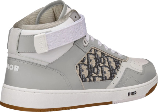 Dior Grey High Top Oblique Ankle Strap Sneakers