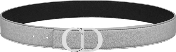 Dior Grey Leather And Silver Tone Cd Icon Buckle Bet