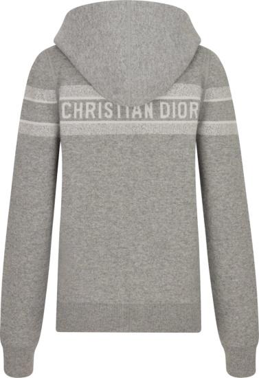 Dior Grey Logo Stripe Zip Hoodie