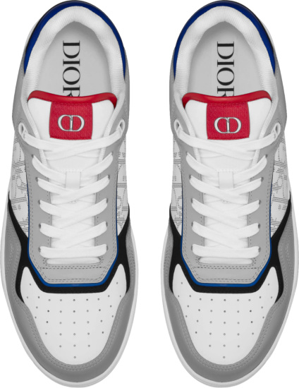 Dior Grey Red And Blue B27 Low Top Sneakers