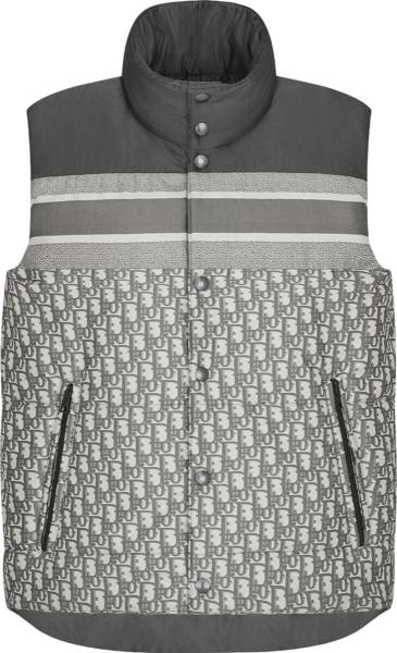 Dior Grey Reversible Oblique Puffer Vest