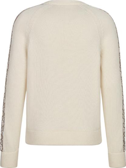 Dior Ivory White Biege Oblique Side Stripe Sweater