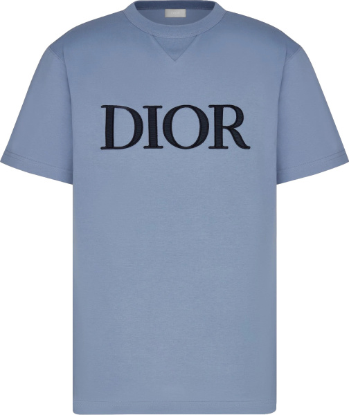 Dior Light Blue And Navy Logo Embroidered T Shirt