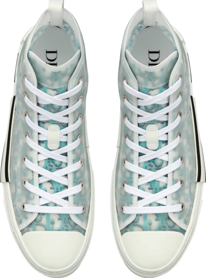 Dior Light Blue And Navy Pixel Oblique High Top B23 Sneakers