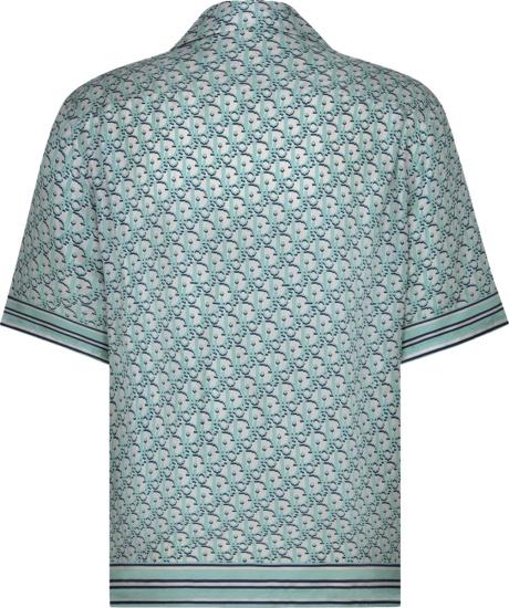 Dior Light Blue And Navy Pixel Oblique Short Sleeve Shirt