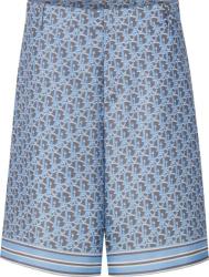 Dior Light Blue Navy Oblique Shorts