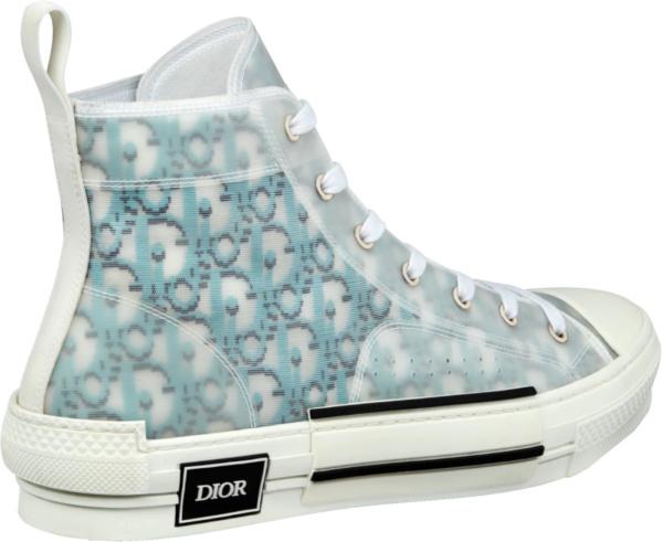 Dior Light Blue Pixel Oblique High Top Sneakers