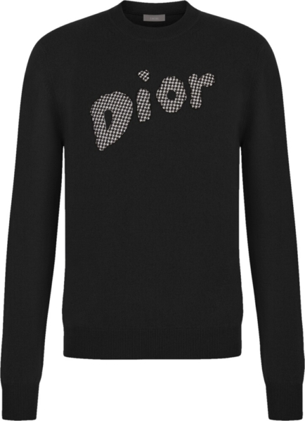 Dior Logo Patch Black Wool Sweater