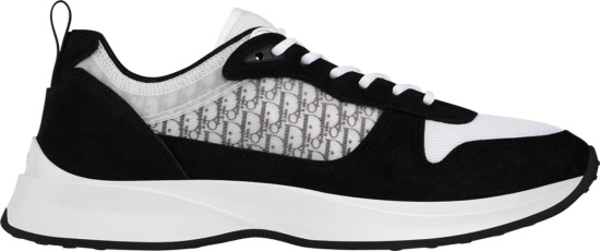 Dior Men Black White Oblique Runner Sneakers