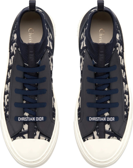 Dior Navy And White Knit High Top Sneakers