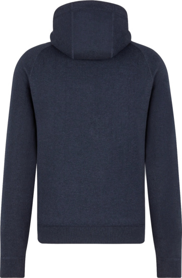 Dior Navy Blue And Oblique Lined Zip Hoodie