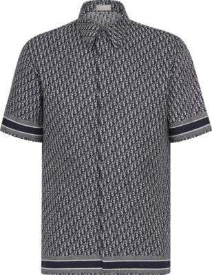 Dior Navy 'dior Oblique' Jacquard Shirt