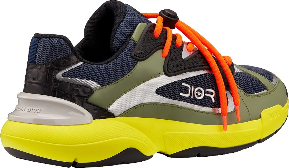 Dior Navy Green Yellow Sneakers With Orange Laces