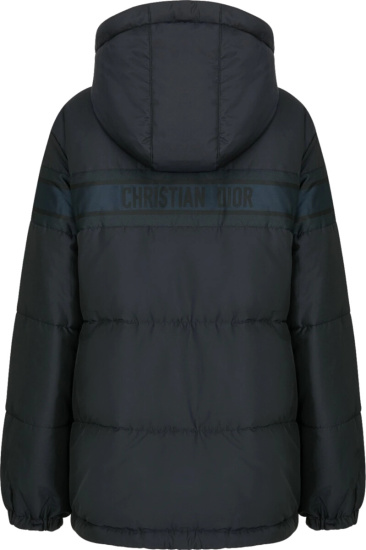Dior Navy Oblique And Navy Striped Reversible Puffer Jacket