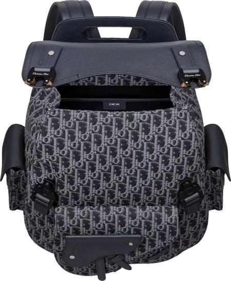 Dior Navy Oblique Mini Saddle Bag Backpack