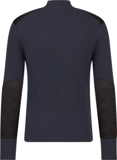 Dior Navy Ribbed Mockneck Sweater