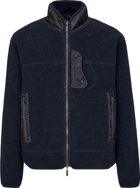 Dior Navy Sherpa Fleece Zip Jacket