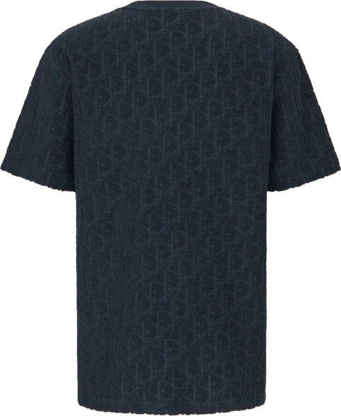 Dior Navy Terry Cotton Oblique Jacquard T Shirt