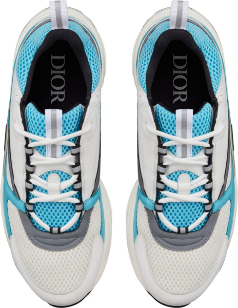 Dior Neon Blue White And Black B22 Chunky Sneakers
