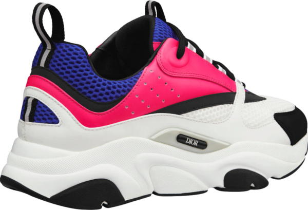Dior Neon Pink Purple White And Black Low Top Chunky Sneakers