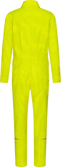Dior Neon Yellow Green Zip Pocket Jumpsuit