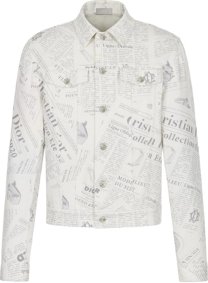 Dior Newspaper Print White Denim Jacket