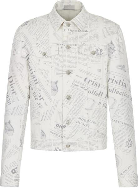 Dior Newspaper Print White Denim Jacket