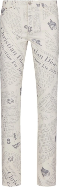 Dior Newspaper Print White Jeans