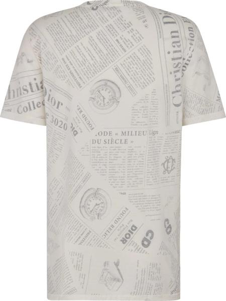 Dior Newspaper Print White T Shirt
