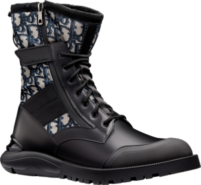 Dior Oblique And Black Calfskin Black Boots