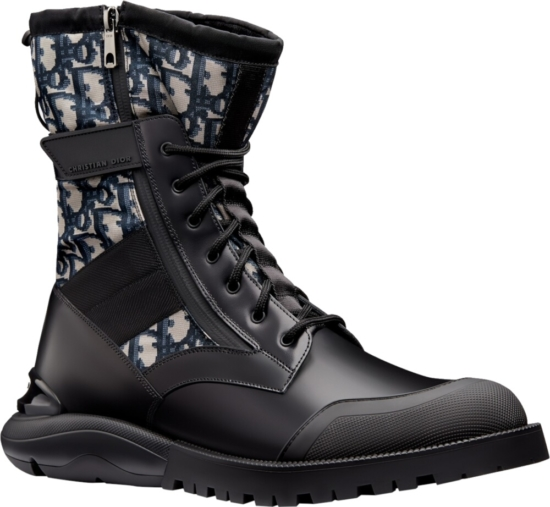 Dior Oblique And Black Calfskin Black Boots