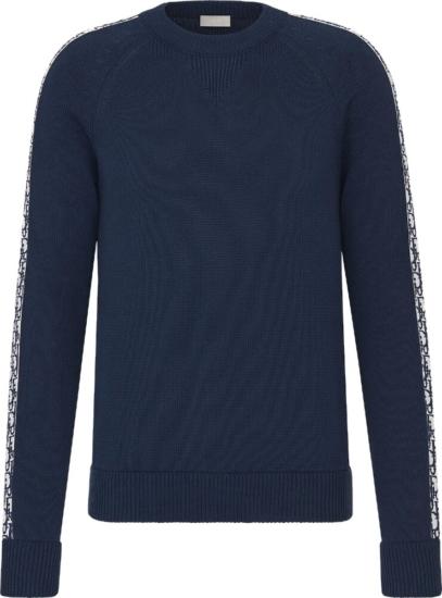 Dior Oblique Side Stripe Navy Sweater