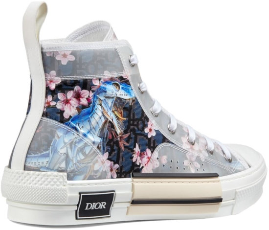 Dior Oblique Sneakers With Floral And Metallic Dinosaur Print