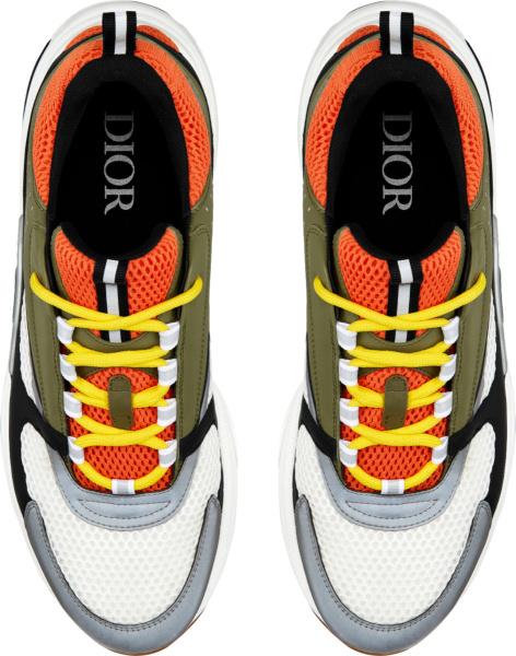 Dior Orange And Dark Green B22 Sneakers