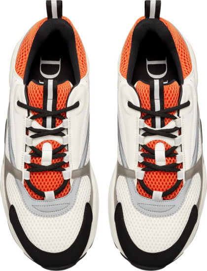 Dior Orange And White Mesh B22 Sneakers