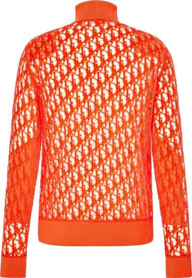 Dior Orange Sheer Oblique Turtleneck