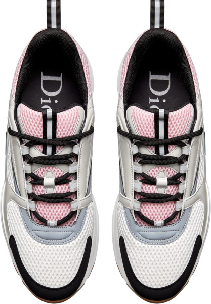 Dior Pale Pink Grey White Black Gum Sole B22 Sneakers