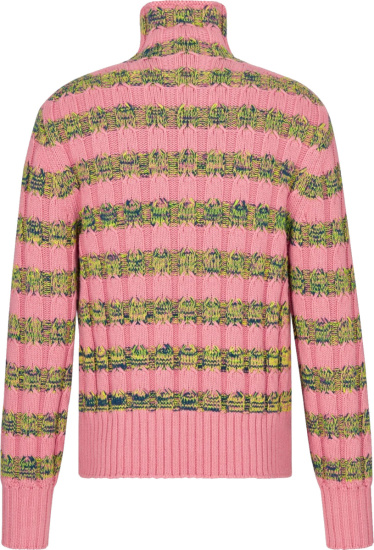 Dior Pink And Blue Yellow Striped Turtleneck