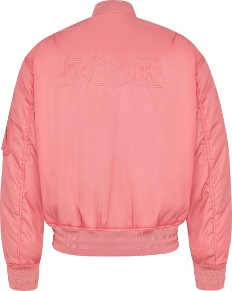 Dior Pink Satin Logo Bomber Jacket