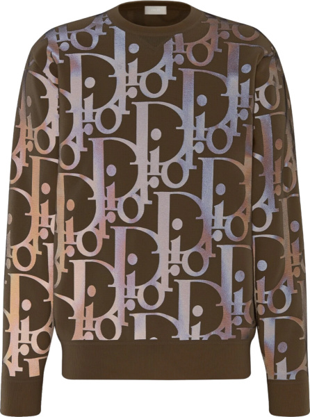 Dior Reflective Brown Beige Sweater Ski Capsule Collection