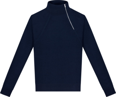 Dior Side Quarter Zip Blue Sweater