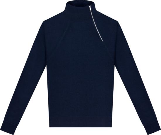 Dior Side Quarter Zip Blue Sweater