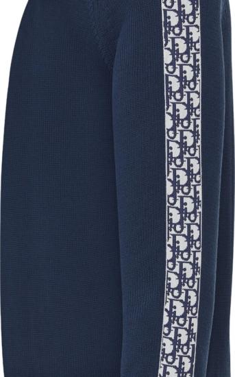 Dior Side Stripe Blue Sweater